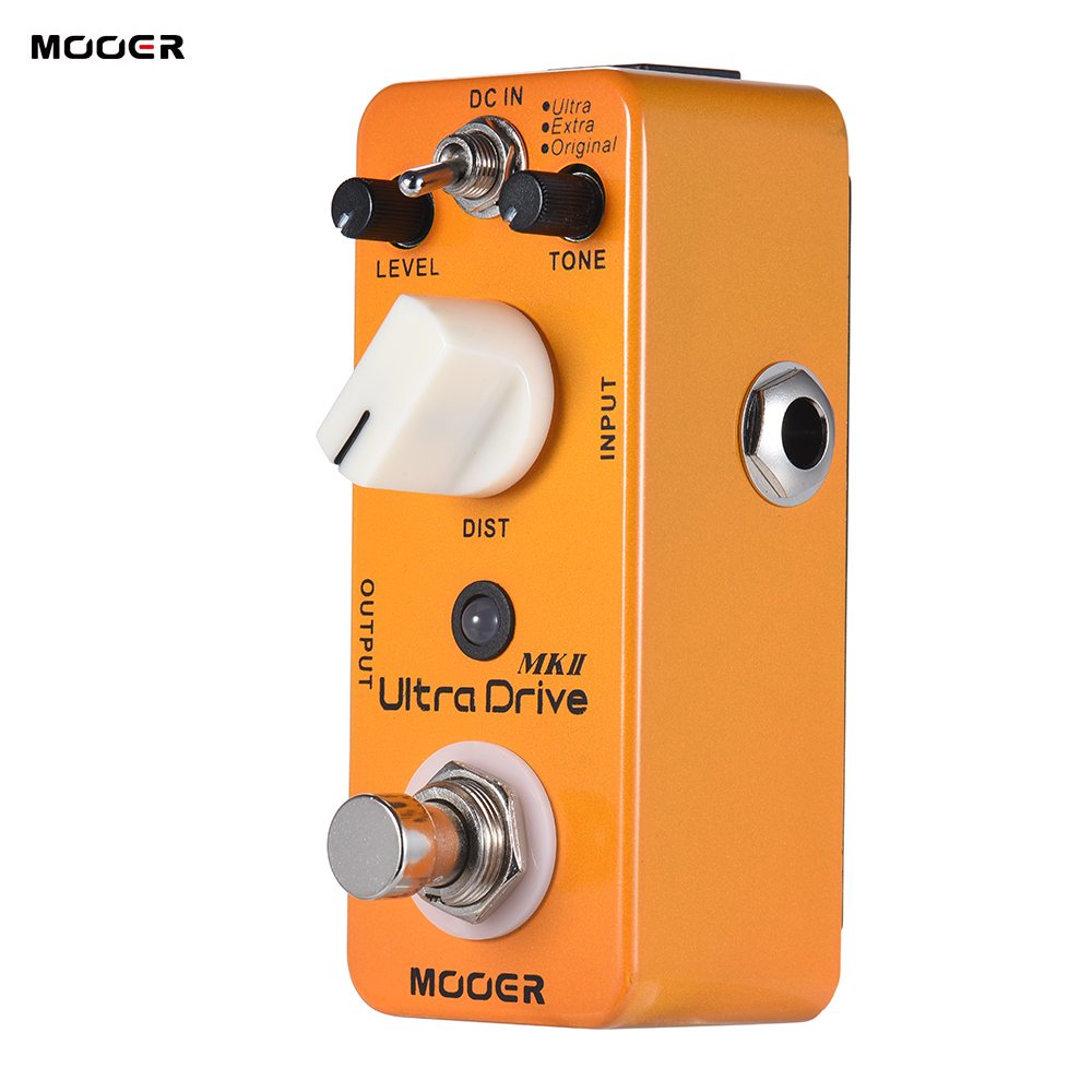 MOOER Ultra Drive MKII Distortion Guitar Effect Pedal 3 Modes True Bypass Full Metal Shell With