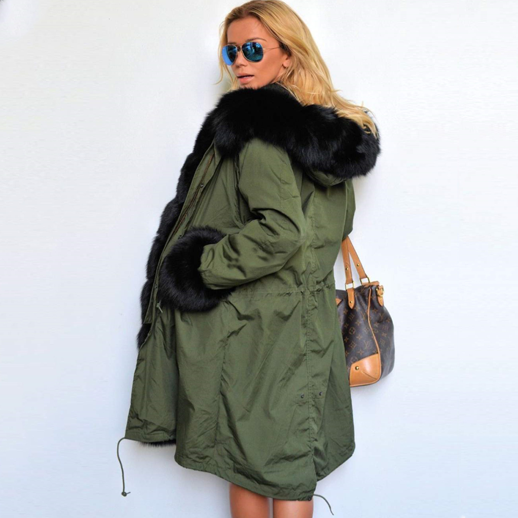 Winter Jacket Women Long Parka Faux Fur Coat Big Raccoon Fur Collar Hooded Parkas Thick Outerwear