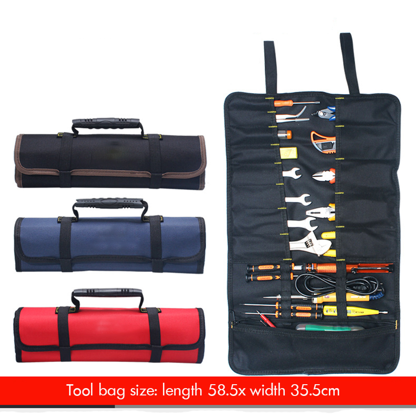 Doubled-Layer 600D Oxford Cloth Tool Bag With Handle, Portable Waterproof Tool Bag 22 Tool Pockets Wear-Resistant, 58.5x35.5cm