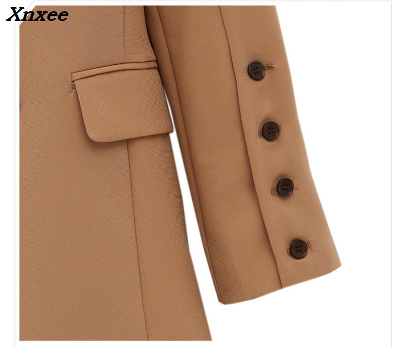 Fashion Women Blazers And Jackets New Wild Female Loose Double Breated Coats Mid-Length Women's Brown Blazer Coat Women Clothes