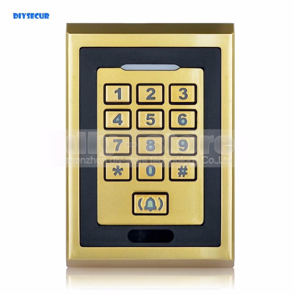DIYSECUR Metal 125KHz RFID ID Card Reader Keypad  Access Controller With Door Bell Button free shipping ko w300 id card 125khz metal card access controller