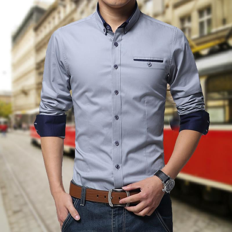 Nice Spring Autumn Style For Men Shirts Fashion Turn Down Collar Dress Long Sleeve Non Iron Shirt Cotton M 9xl In From S