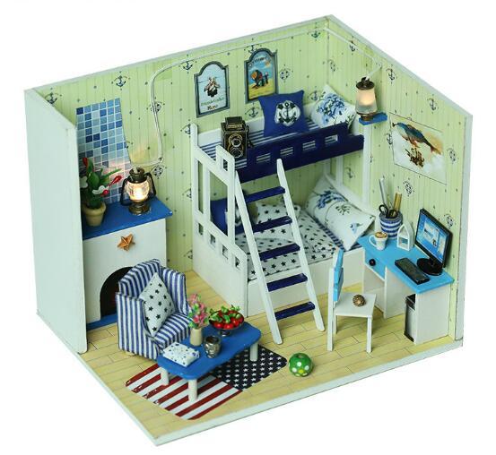 Q009 Doll House Miniatura Boy Bedroom 3d Wooden Diy Dollhouse