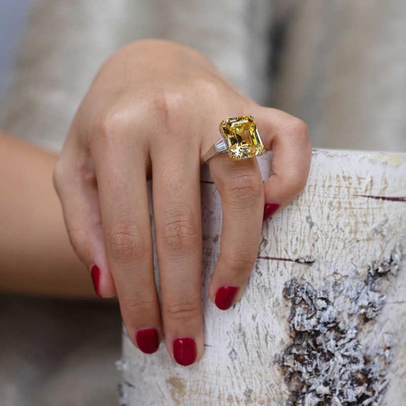แบรนด์หรูยี่ห้อ Big Square สีชมพูสีเหลืองสีขาว AAAAA + Zicon S925 เงินงานแต่งงานแหวนหญิงวันเกิดหินเครื่องประดับ Dropship