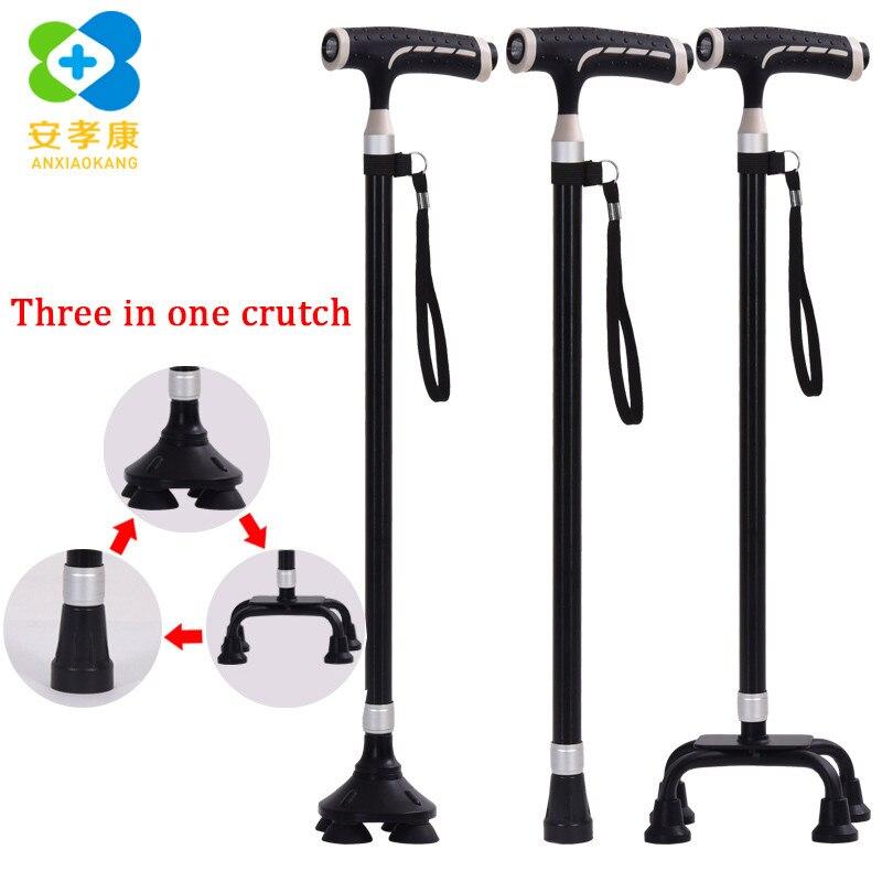 ANXIAOKANG Safe Old Man Crutches Нескользящая телескопическая Т-образная ручка три фута преобразует скандинавскую трость для ходьбы Polse трости для пожилы...