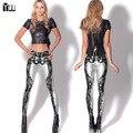 2015 caliente-venta de las mujeres legging del músculo esquelético imprimir tobillo-longitud pantalones femeninos lápiz pantalones de las niñas pantalones elásticos de alta leggings