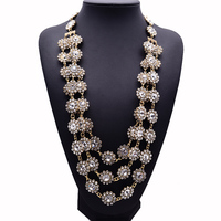 2015 New Design XG220 High Quality Long Crystal Necklaces Pendants Multi Layers Flower Statement Necklace Handwoven