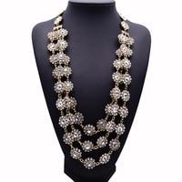2017 Nuevo Diseño XG220 Alta Calidad a Largo Collares de Cristal y Colgantes de Múltiples capas de La Flor Collar Llamativo Handwoven Joyería