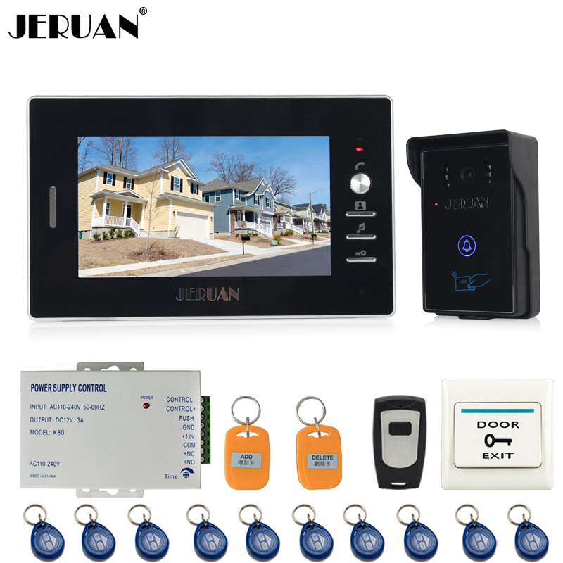 JERUAN NEW 7`` Video Intercom Entry Door Phone System 1monitor+700TVL Touch Key Waterproof RFID Access Camera + Remote control jeruan new 7 inch touch key color video intercom entry door phone system rfid access doorbell camera 1 monitor in stock