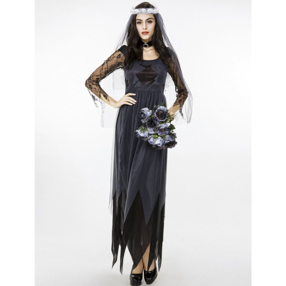 Halloween Purim Costumes for Women Black Mesh Sleeve Zombie Corpse Bride Costume Cosplay Long Dress Fantasia Clothing for Woman