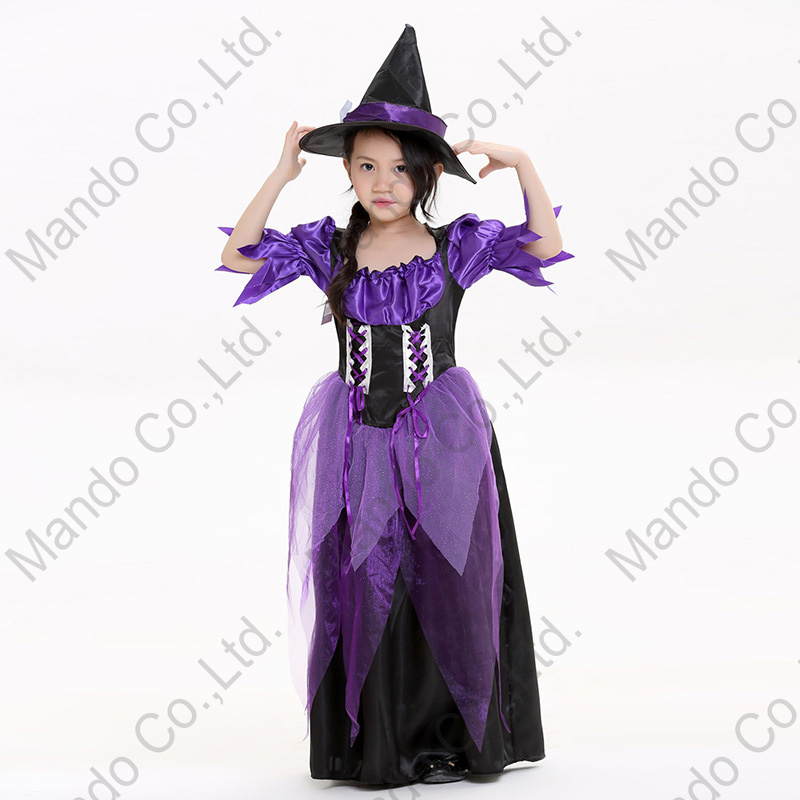 Girls purple witch Queen Fancy Dress Cosplay Costume Women Halloween Outfit 3pcs