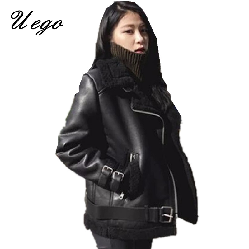 6609ec029 Uego Thicken Fleece Warn PU Leather Winter Coats Suede Lamb Wool Motorcycle  Coats Korean design Slim Short Women Jackets Coats