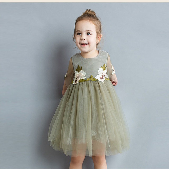 898aaf1b5a0 The Rushed Three Quarter New Girl Dresses In Summer 2018 Western Style  Sleeved Dress Embroidered Princess Flower Girls Wedding