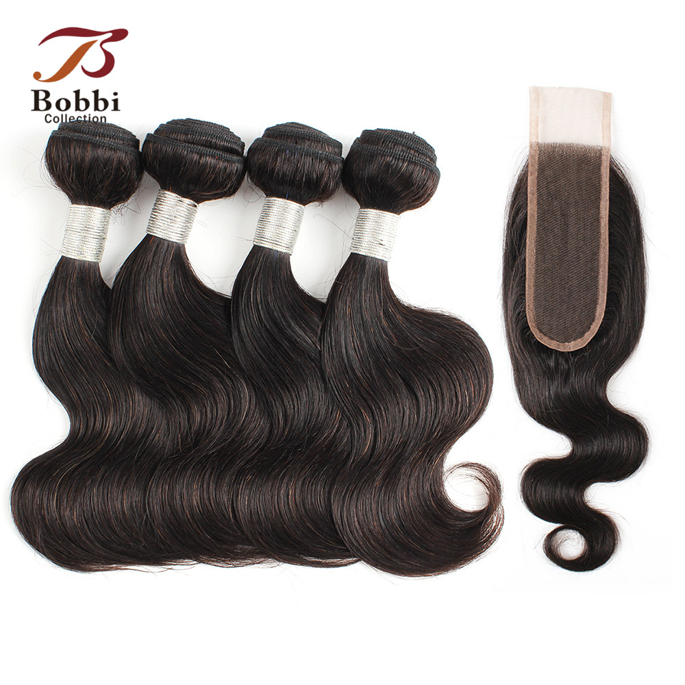 BOBBI COLLECTION 50g/pc 4/6 Bundles With Closure 2*6 Long Lace Closure Indian Body Wave Non-Remy Human Hair Short Bob Style