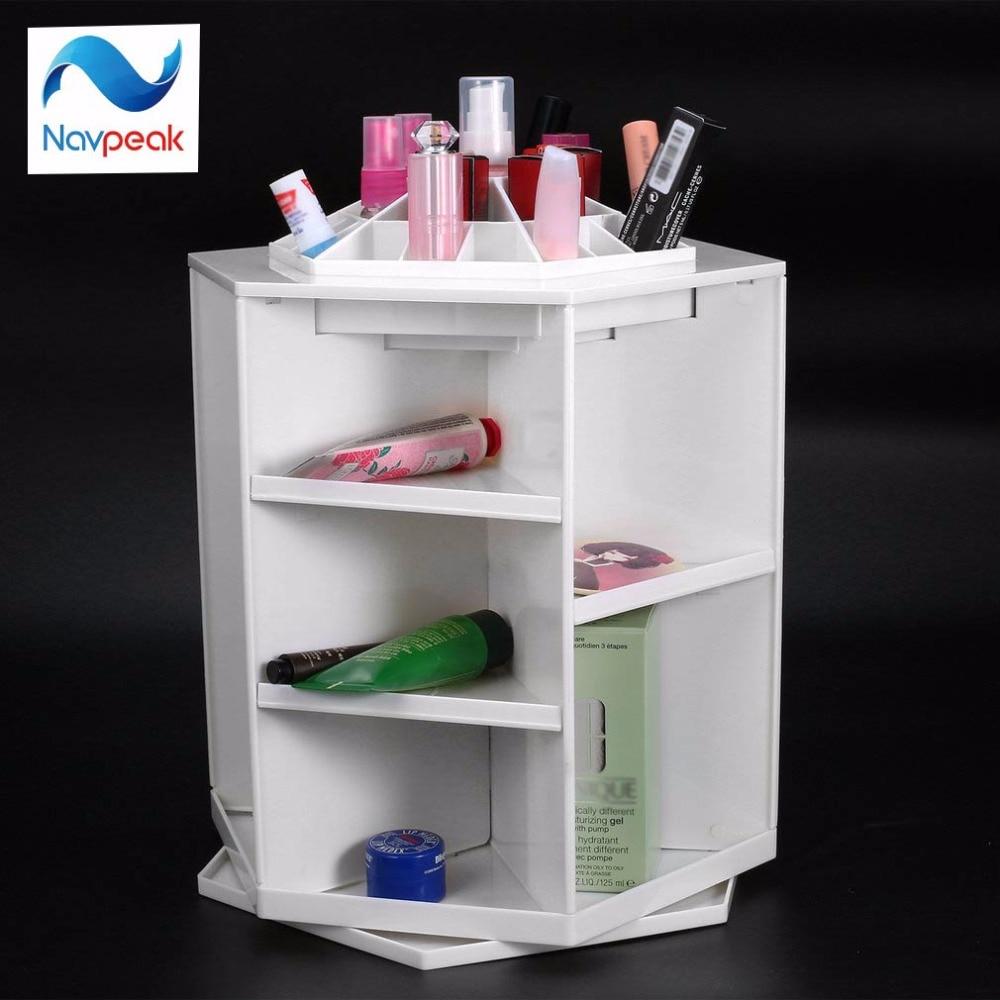 360 Degree Rotating Cosmetic Storage Box Makeup Organizer Display Storage Box Brush Lipstick Storage Stand