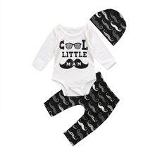 8304be379 3 piezas ropa de bebé recién nacido bebé niños pequeño hombre del mameluco  largo bigote pantalones + trajes de sombrero Set