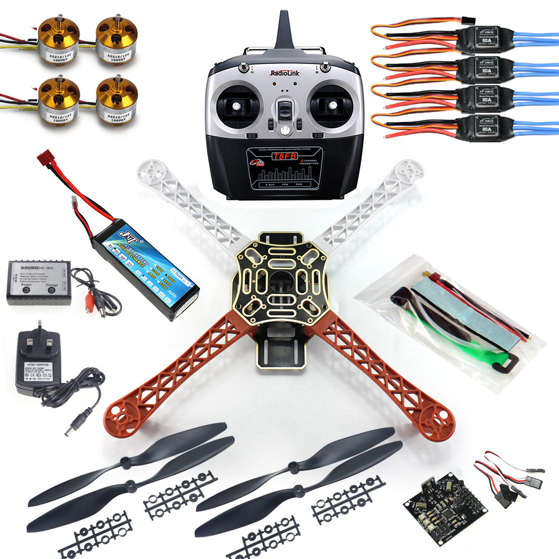 JMT 4 axle RC Multi QuadCopter Drone RTF ARF KK V2.3 Circuit board 1000KV Motor 30A ESC Lipo F450 Frame Kit 6ch TX RX F02192-A diy 4 axle rc multi quadcopter drone with kk v2 3 circuit board 1000kv motor 30a esc f450 frame kit radiolink t8fb 8ch tx