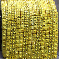 Free Shipping 5yard Lot 16rows Gold Bilateral Pyramid Plastic Rhinestones Mesh Trimming Sewing Wedding Dress DIY