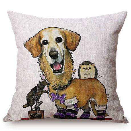 Pet Dog Animals Funny Style Cushion Cover Dachshund Schnauzer Dog Children Like Cotton Linen Sofa Decorative Throw Pillow Case M110-9