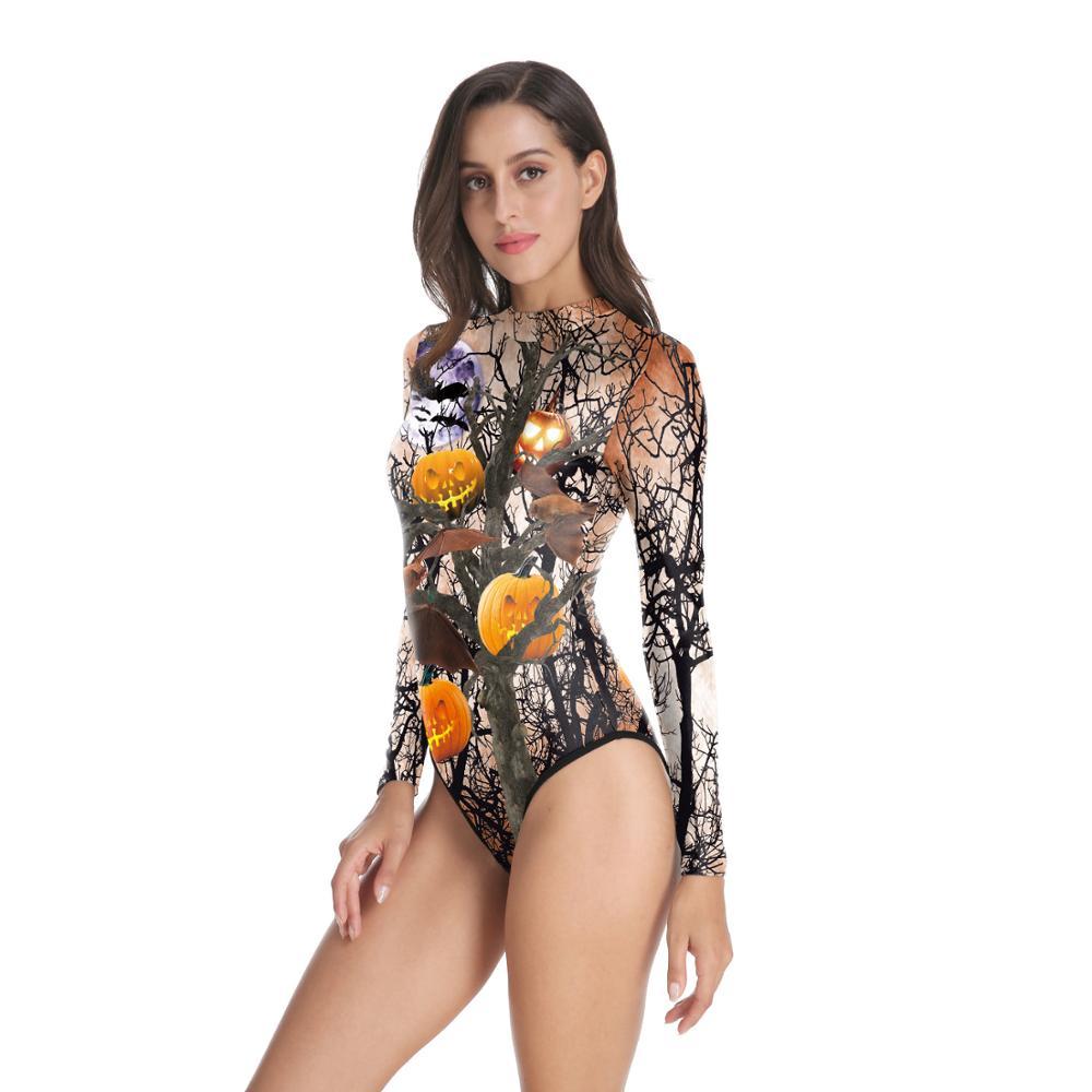 Women One Pieces Swimsuit Halloween Cosplay Costume 3D Printed pumpkin Swimwear Zippered Summer Jumpsuits