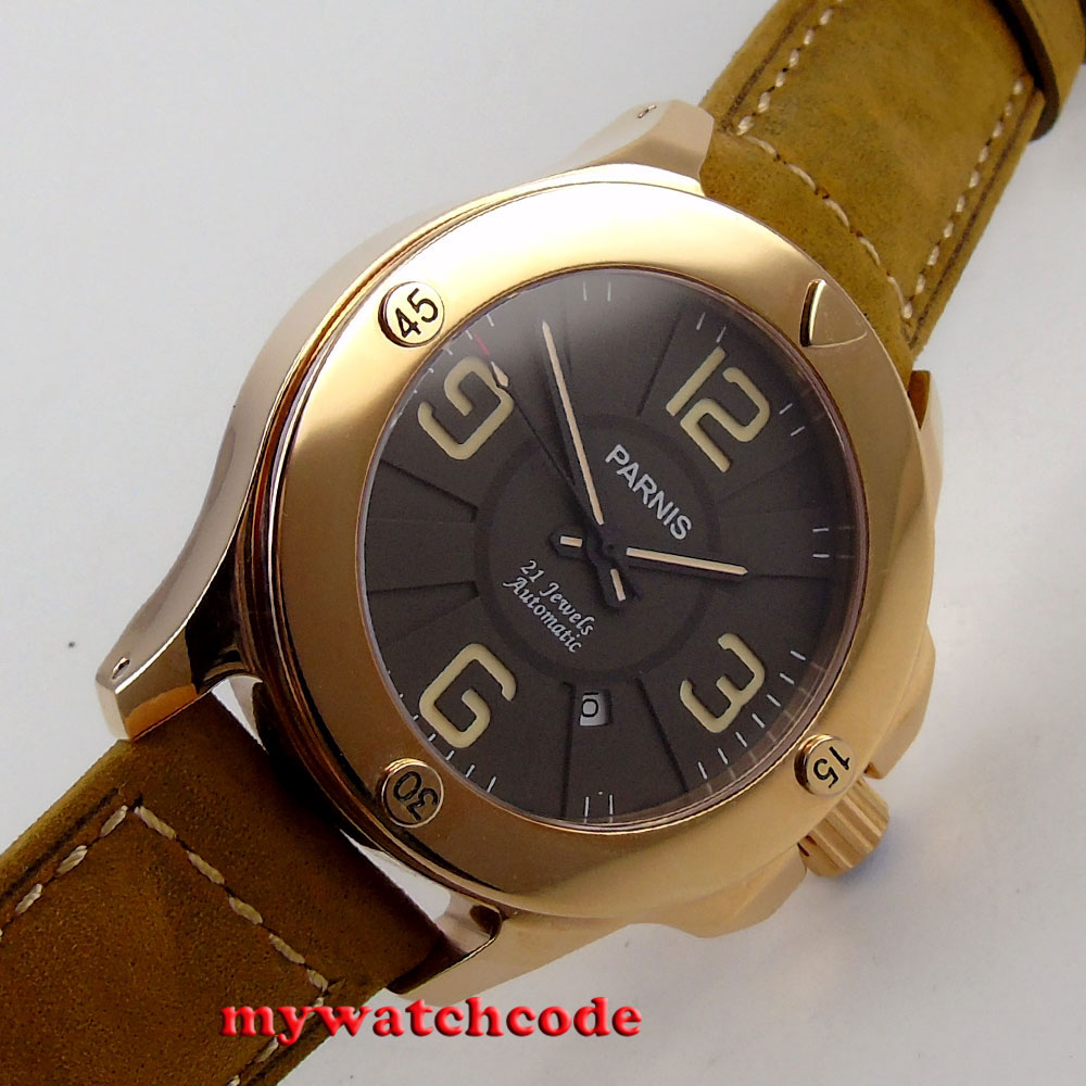 47mm Parnis black dial golden case PVD Sapphire Glass Automatic mens Watch P619