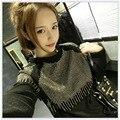 5xl плюс большой размер топы blusas feminina весной осень зима 2016 новых корейских женщин способа с длинным рукавом черные футболки женщин A1606