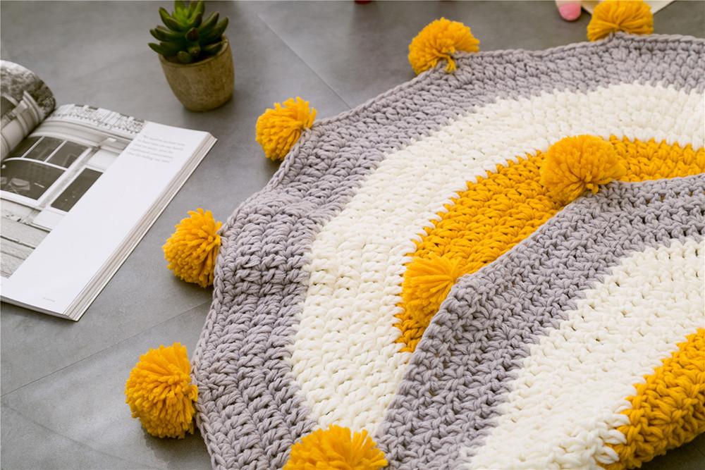 INS Children Premises Mat Hand-woven Mats Baby Play Mats Knitted Blanket Handmade Ball Children Premises Mat Crawling Mat (14)