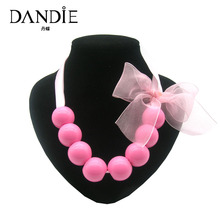Dandie New Popular Handmade Bead Necklace With Pink Bowknot Decoration,Girls Fashion Jewelry