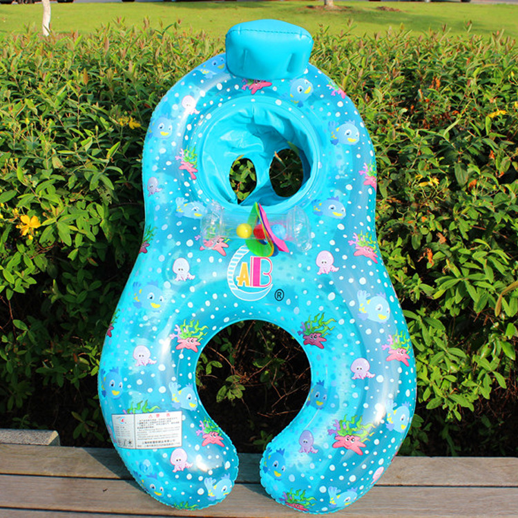Summer Baby Kids Safety Swimming Ring Mother&Baby Float Fun Pool Toys Double Person Swimming Seat Boat Infant Water Toy Tool