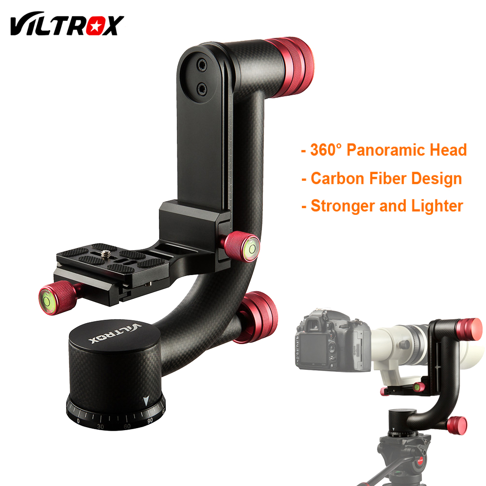VILTROX VH-20 Carbon Fiber 360 Degree Panoramic Gimbal Tripod Head w/ 1/4 Quick Release Plate For DSLR Camera Telephoto Lens