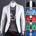 Roupa masculina primavera 2016 um botão cor sólida fino blazer outerwear terno preto