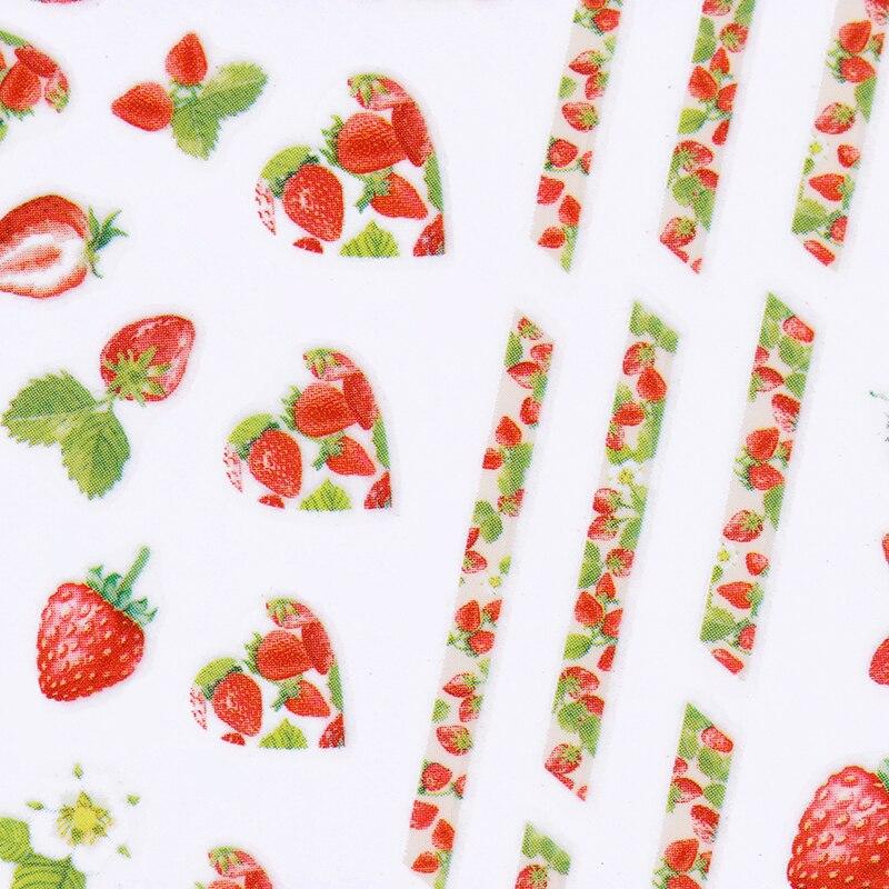 Fruit Dessert 3D Nail Sticker Summer Strawberry Pineapple Adhesive Transfer Sticker Manicure Nail Art Decals 1 sheet summer fruit love lace alphabet 3d nail sticker dessert animal flower nail art adhesive transfer sticker manicure decal