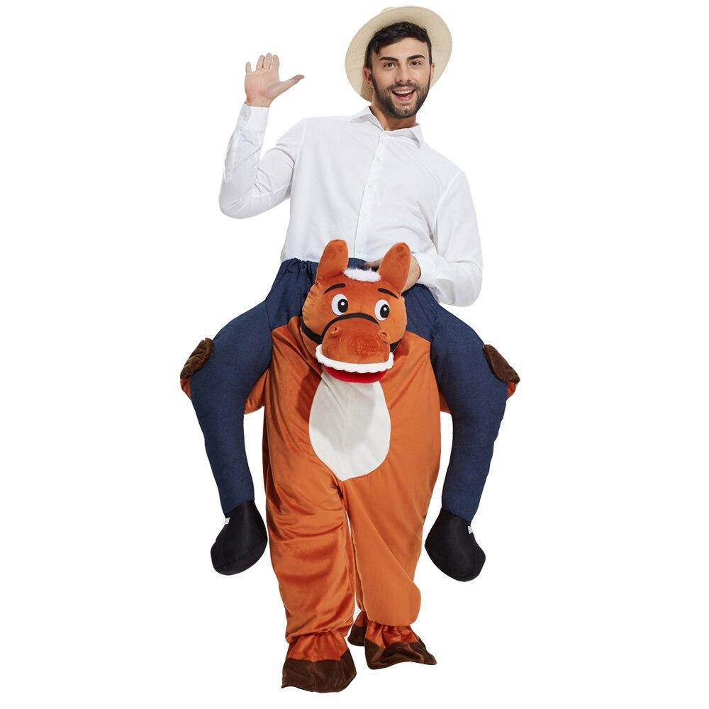 Horror costumi Mens Adulti Ride On Me Costume Della Mascotte Del Vestito Operato Piggy Back Stag Fare Outfit con trasporto libero