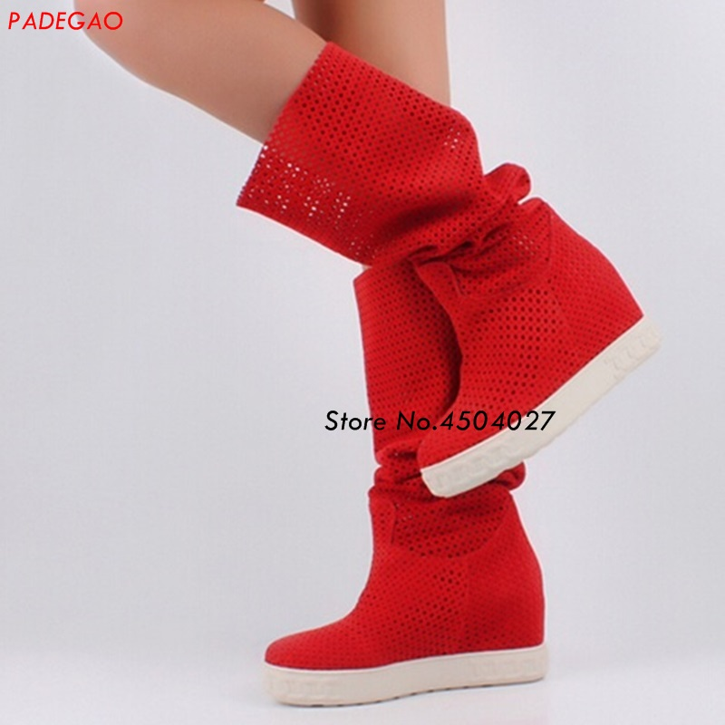 Red Suede Leather Hidden Wedge Boots Slip-on Platform Women height increased Knee High Boots female Long Boots hidden wedge platform fuzzy boots