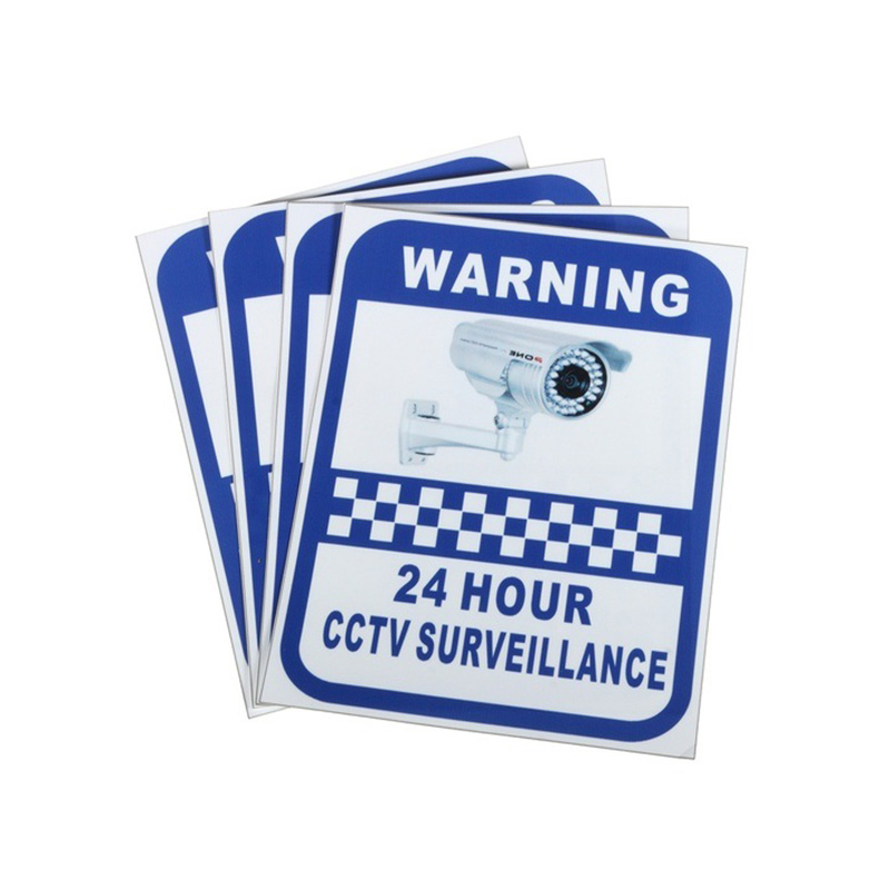 5Pcs 24 Hour CCTV Surveillance Warning Sticker Warning Tape Workplace Safety Supplies Security Protection Wall Sticker 14X11cm 24 hours cctv security warning board transparent black multi colored