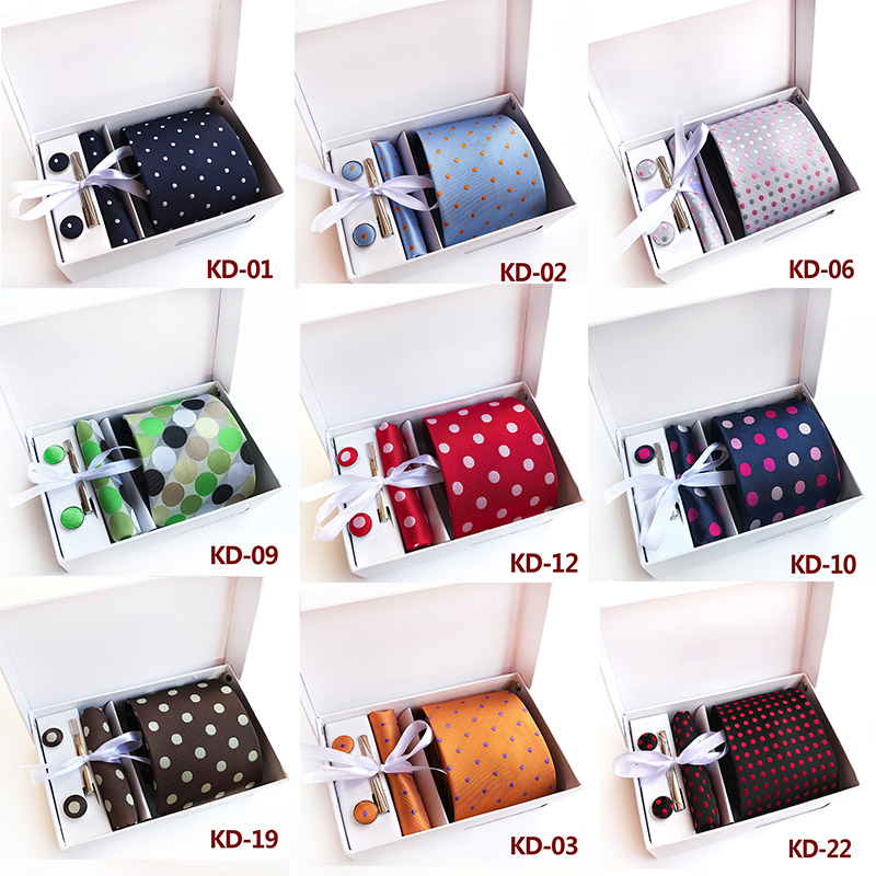 Luxury 24 Colors Mans Polka Dot Spot Tie Hanky Cufflinks Clip Set Best Gift for Man Business Dress Wedding Party