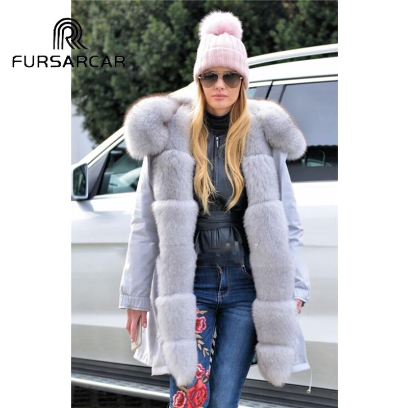 Et Manteau De Mi Militaire Mode Style Hiver Parka Manchette Chaud Femmes Avec Cm Fourrure Renard 80 Réel Col long Fursarcar pgazWnqa