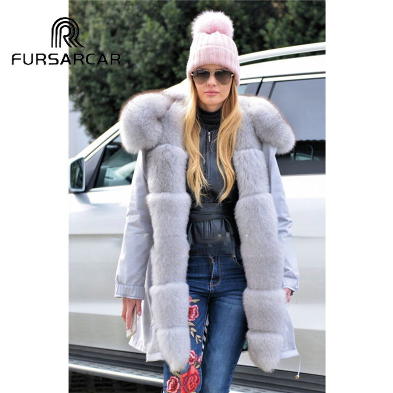 FURSARCAR Military Style Real Fur Parka Women 80 CM Mid-Long Winter Coat With Fox Fur Collar And Cuff Fashion Warm Fox Fur Parka