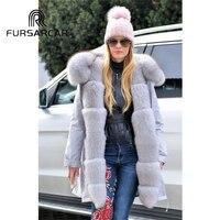 FURSARCAR Military Style Real Fur Parka Women 80 CM Mid Long Winter Coat With Fox Fur Collar And Cuff Fashion Warm Fox Fur Parka