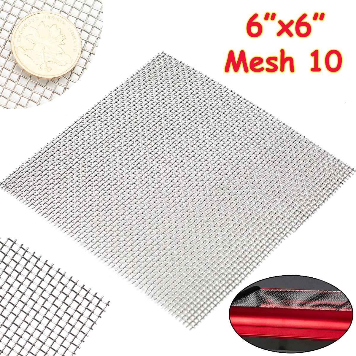 1PC 15x15cm 10  Mesh Woven Wire Cloth Screen Filtration 304 Stainless Steel  With High Temperature Resistance