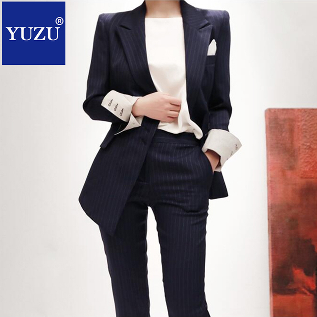 e17e49ccbed Suit Women Striped blazer set korean Dark Blue Double Breasted formal  business Pants suits ladies office