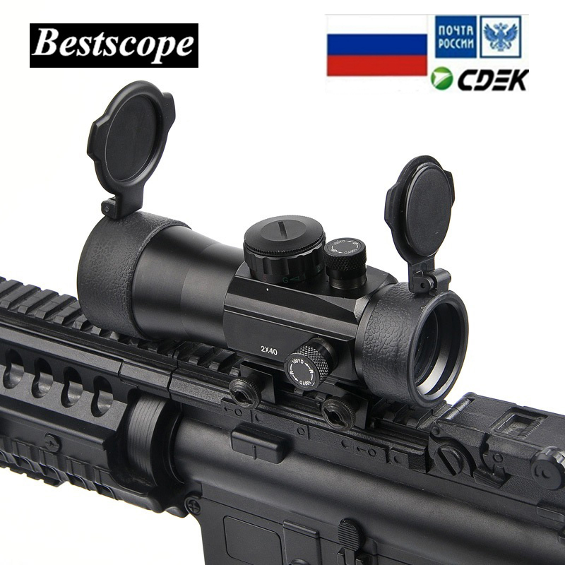 B marca 2x40 verde rojo punto vista alcance táctico Optics Riflescope ajuste montaje riel Picatinny 20mm 11mm visores para la caza