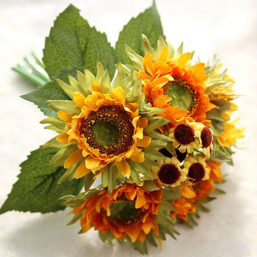 Bunch Of Artificial Flowers Decorations For Home 5 Heads Beauty Fake