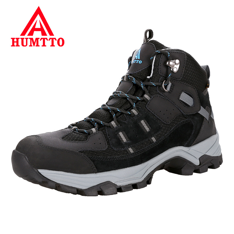 HUMTTO Brand Outdoor Hiking Shoes Professional Genuine Leather Trekking Mountain Sneakers Waterproof Camping Men Shoes Big
