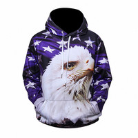 2017 New pattern USA Flag Sweatshirt Men Hoodies Hooded 3d Print Stars Eagle Cap Hoodies With Front Pockets Tracksuits