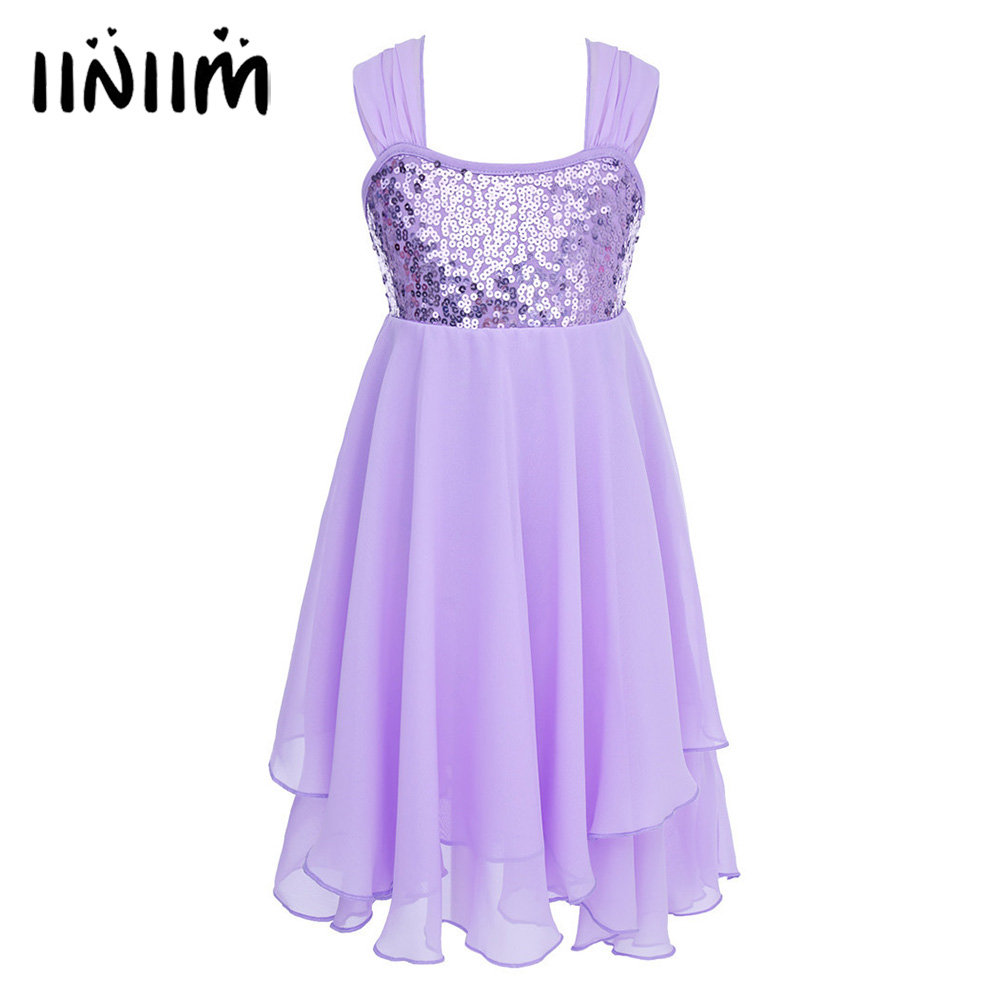 iiniim Sequins Chiffon Kids Adjustable Shoulder Straps Ballet Dance Dress for Girls Ballet Dancer Class Gymnastics Leotard Dress