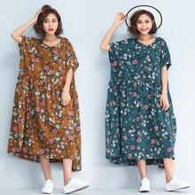 P Ammy Fashion Cotton Linen Plus Size Vintage Print Mid-Long Short Sleeve  Dress 0e9c956b71f3