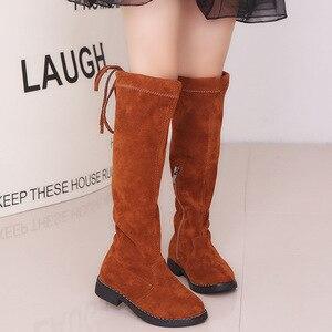 Image 3 - Meisjes laarzen over de knie laarzen kinderen schoenen herfst winter mode meisjes prinses hoge laarzen fluwelen warm kinderen katoen schoenen