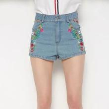 Z0315F8 летние новые продукты в Европе и сладкий маленький цветок вышивка джинсовые шорты #8218