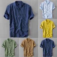 Sommer männer Kühlen Und Dünne Atmungsaktive Kragen Hängen Gefärbt Gradient Baumwolle Hemd M-3XL beste geschenk Einkauf neue